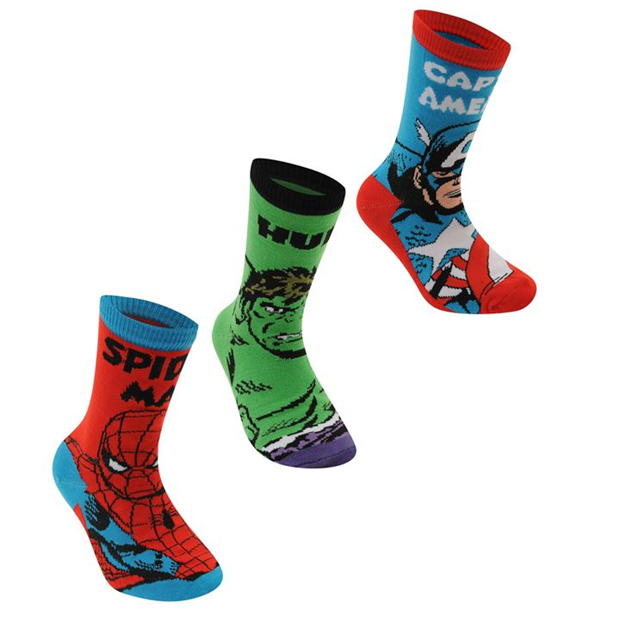 Marvel 3 Pack Crew Socks Infants