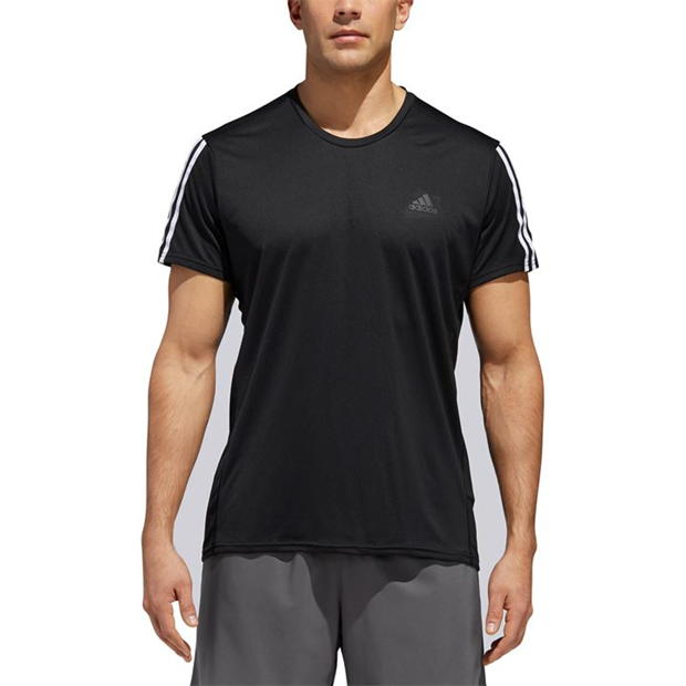 adidas Run 3 Stripe T Shirt Mens
