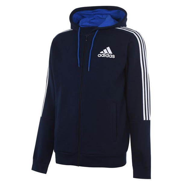 adidas 3 Stripe Zipped Hoody Mens