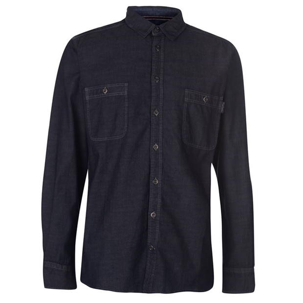 Pierre Cardin Long Sleeve Denim Shirt Mens