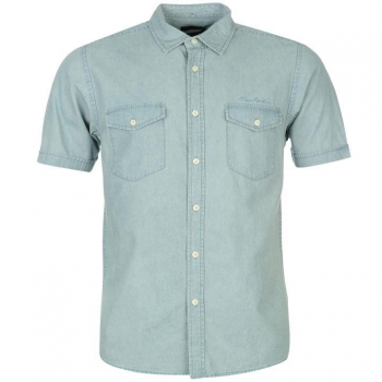 Pierre Cardin Short Sleeve Denim Shirt Mens (M)