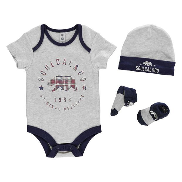 SoulCal 3 Pack Romper Suit Set Baby