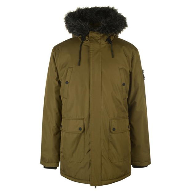 Fabric Long Parka Jacket