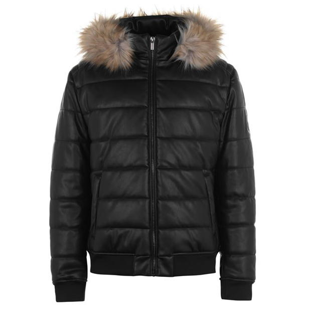 Firetrap PU Bubble Jacket Mens