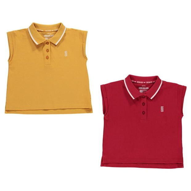 SoulCal 2 Pack Cropped Polo Shirt Junior Girls