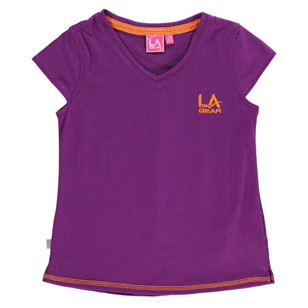 LA Gear V Neck T Shirt Junior Girls