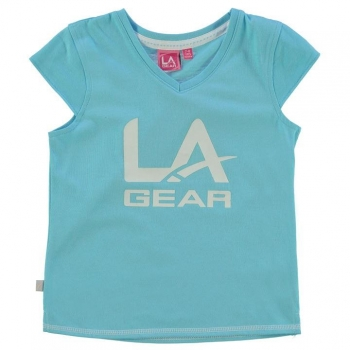 LA Gear Large Logo V Neck TShirt Girls 9-10 лет