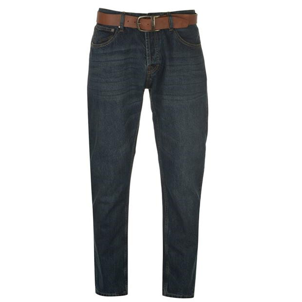Firetrap Leather Belt Jeans Mens
