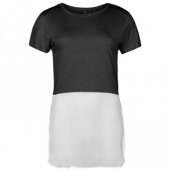 Lee Cooper Chiffon Mix T Shirt Ladies (L)